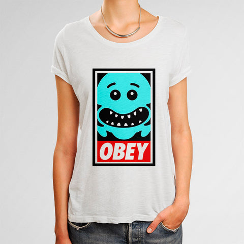 The Meeseeks OBEY Rick and Morty Woman's T-Shirt | Leaftunes