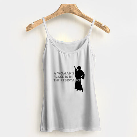 A Womans Place Is In The Resistance Princess Leia2 Woman's Tank Top Halter Top | Leaftunes