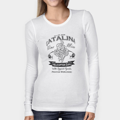 Catalina Wine Mixer Helicopter Grapes Wine Woman's Long Sleeve | Leaftunes