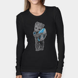 Baby Groot Hugging Carolina Panthers Woman's Long Sleeve | Leaftunes