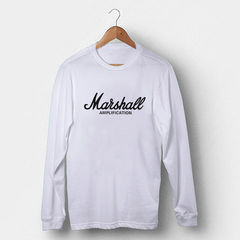 Marshall Amplification Logo Rock Amplifier Les Paul Gibson Guitar Man's Long Sleeve | Leaftunes
