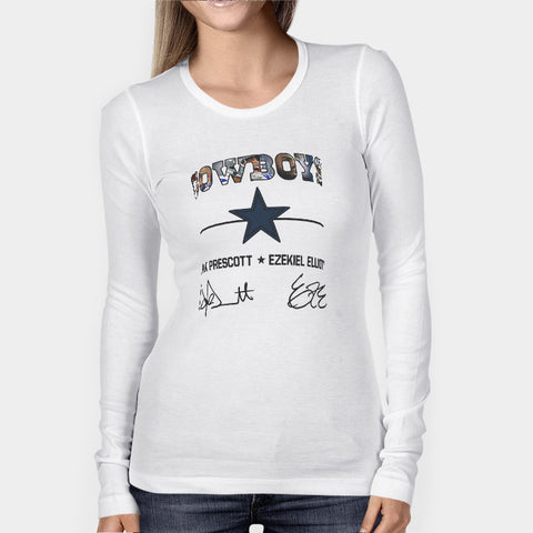 Dak Prescott and Ezekiel Elliott Top Players NFL Dallas Cowboys Woman's Long Sleeve | Leaftunes