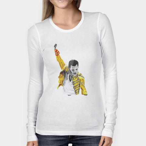 Freddie Mercury Queen Sketch Woman's Long Sleeve | Leaftunes