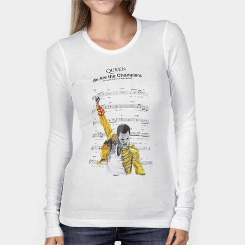 Freddie Mercury Queen We Are The Champion Woman's Long Sleeve | Leaftunes