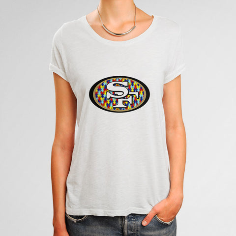 San Francisco 49ers Autism Awareness Woman's T-Shirt | Leaftunes