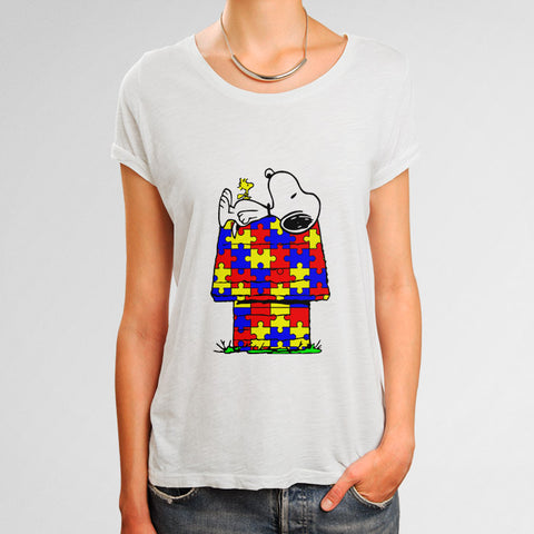 Snoopy Woodstock Autism Awareness Woman's T-Shirt | Leaftunes