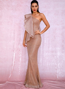 Gold shimmering sparkly glitter one-shoulder prom evening formal bridal homecoming ruffled sleeve maxi mermaid gown dress sexy kylie jenner bella hadid