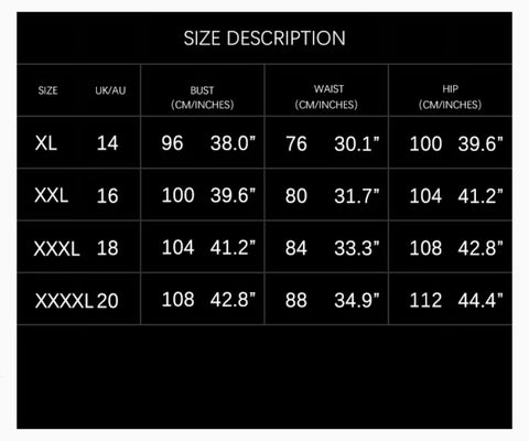 Top Glam Shop Curve Plus Size Chart