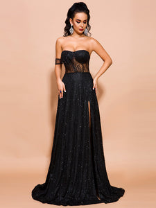 Black Glitter Shimmering sheer Ayelet Prom Evening formal sleeveless off-the-shoulder thigh high slit gown dress