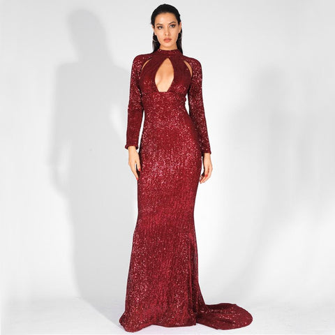 5th Avenue Gown- Deep Red - Top Glam Shop