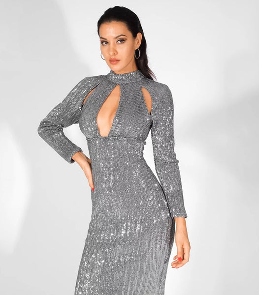 5th Avenue Gown- Grey - Top Glam Shop