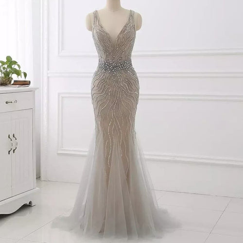 Alexandria Embellished Gown- Silver