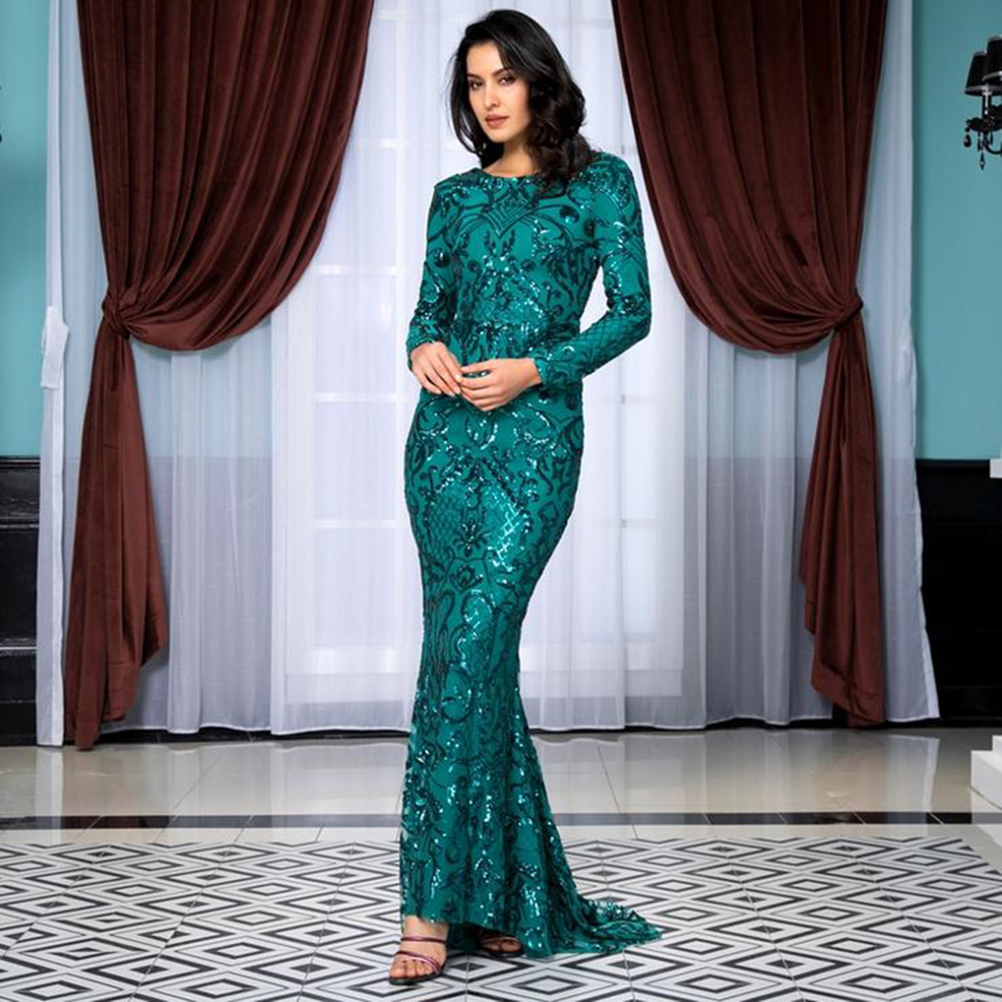 Aliya Gown- Emerald - Top Glam Shop