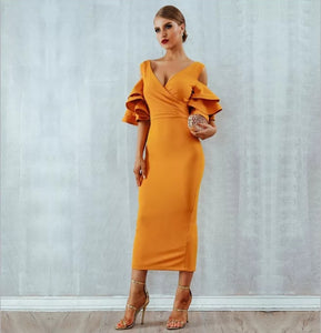 Amal Bandage Dress- Canary