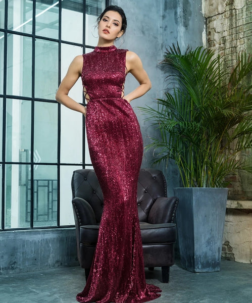 Amelia Gown- Deep Red - Top Glam Shop