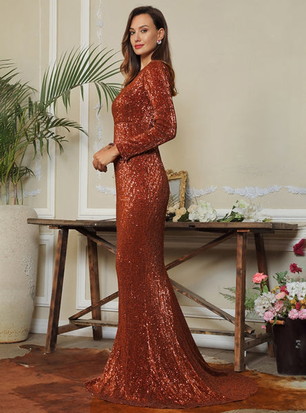Araceli Gown- Rust - Top Glam Shop