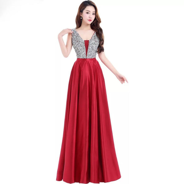 Azrah Satin Gown- 9 Colors - Top Glam Shop