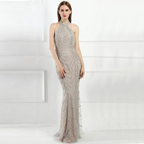 Camillia Beaded Gown- Grey - Top Glam Shop