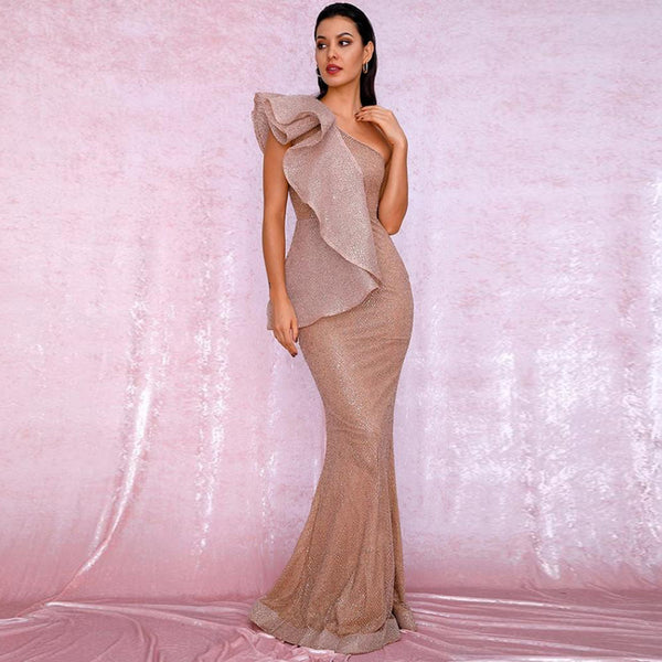Catalina Ruffled Gown- Rose Gold - Top Glam Shop