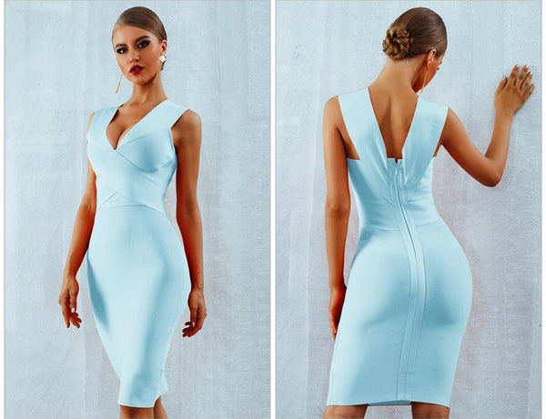 Powder Blue Bandage Cross Front Dress - Top Glam Shop