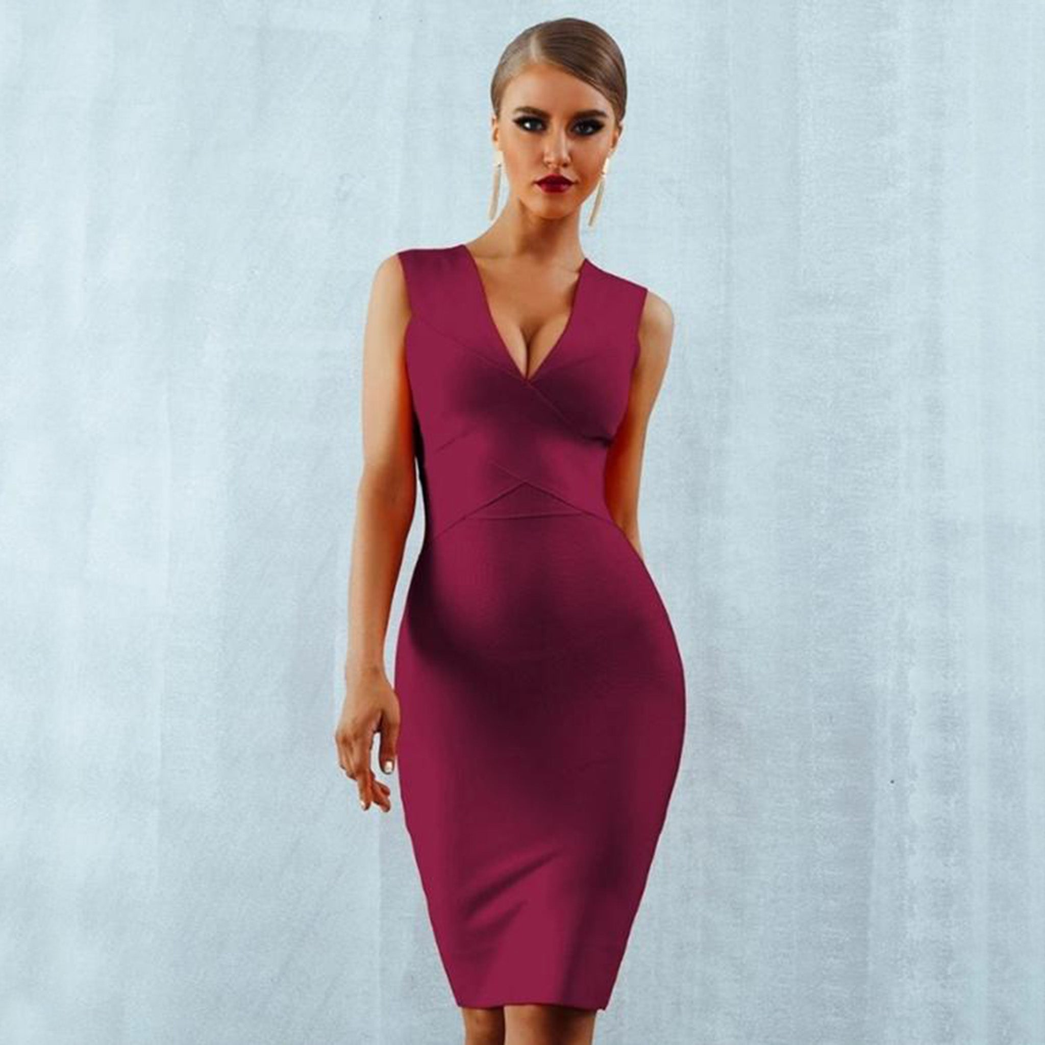 Burgundy Bandage Cross Front Dress - Top Glam Shop