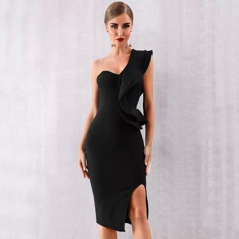 Black One-Shoulder Ruffle Bandage Dress - Top Glam Shop