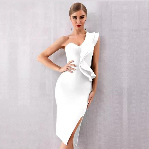 White One-Shoulder Ruffle Bandage Dress - Top Glam Shop