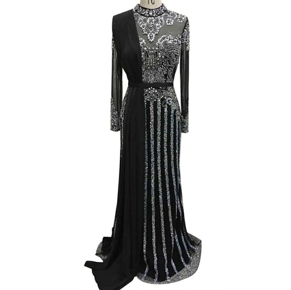 Long sleeve black silver sparkly modest Muslim rhinestone crystal beaded wedding prom dress with train shawl