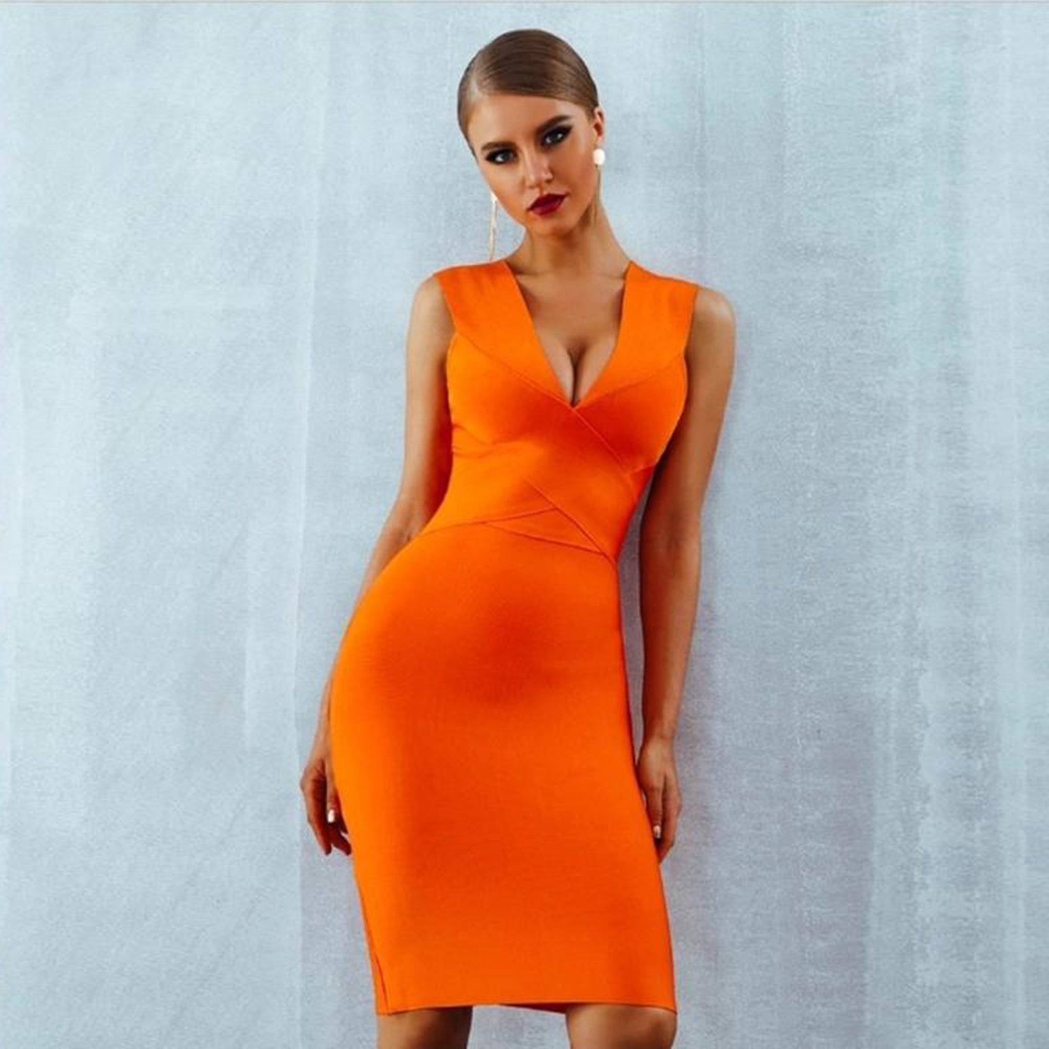 Orange Bandage Cross Front Dress - Top Glam Shop