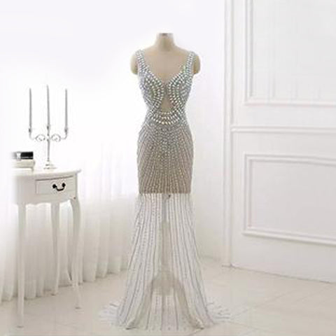 Elsa Embellished Gown- Silver - Top Glam Shop