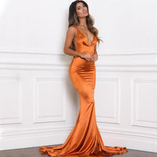 Emilia Sateen Gown- Rust