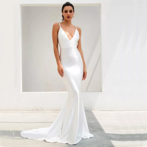 Emilia Sateen Gown- White
