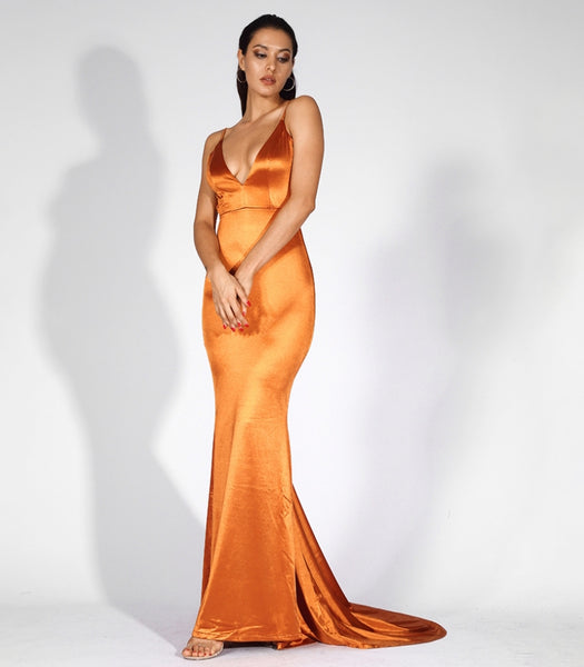 Emilia Sateen Gown- Rust - Top Glam Shop