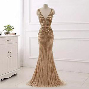 Emirese Embellished Gown- Sand - Top Glam Shop