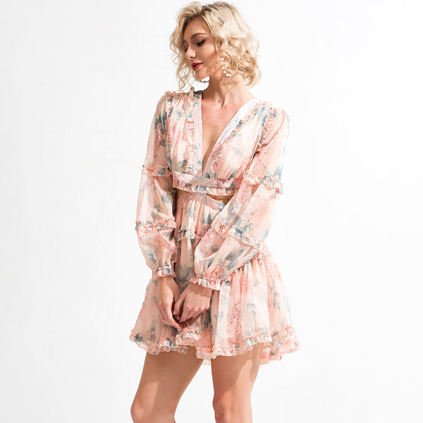 Marilyn Floral Ruffled Dress - Top Glam Shop
