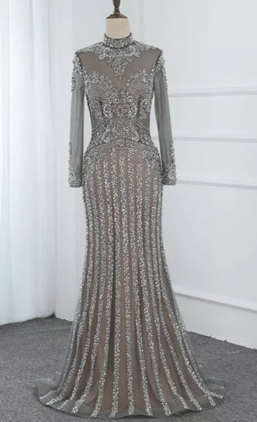 Almira Embellished Gown- Silver/Grey - Top Glam Shop