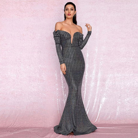 Gabriella Gown- Black/Silver - Top Glam Shop