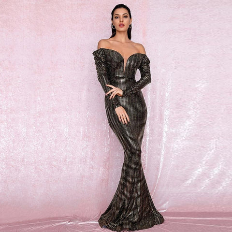 Gabriella Gown- Black/Gold - Top Glam Shop