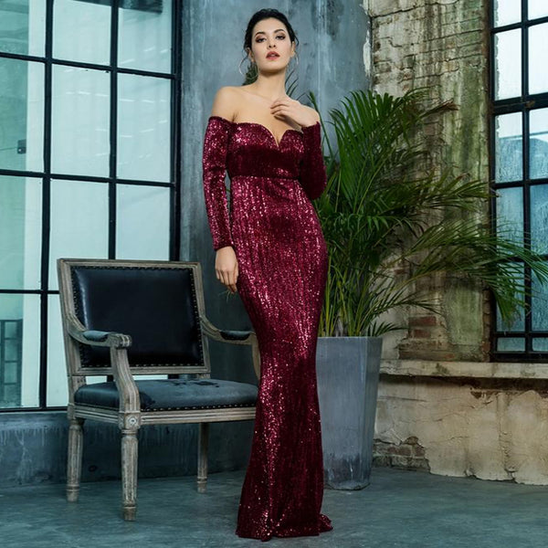 Giselle Gown- Deep Red - Top Glam Shop