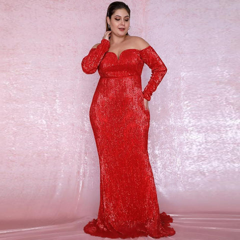 Giselle Gown- Red (Curve) - Top Glam Shop