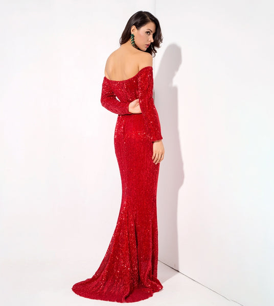 Giselle Gown- Red - Top Glam Shop