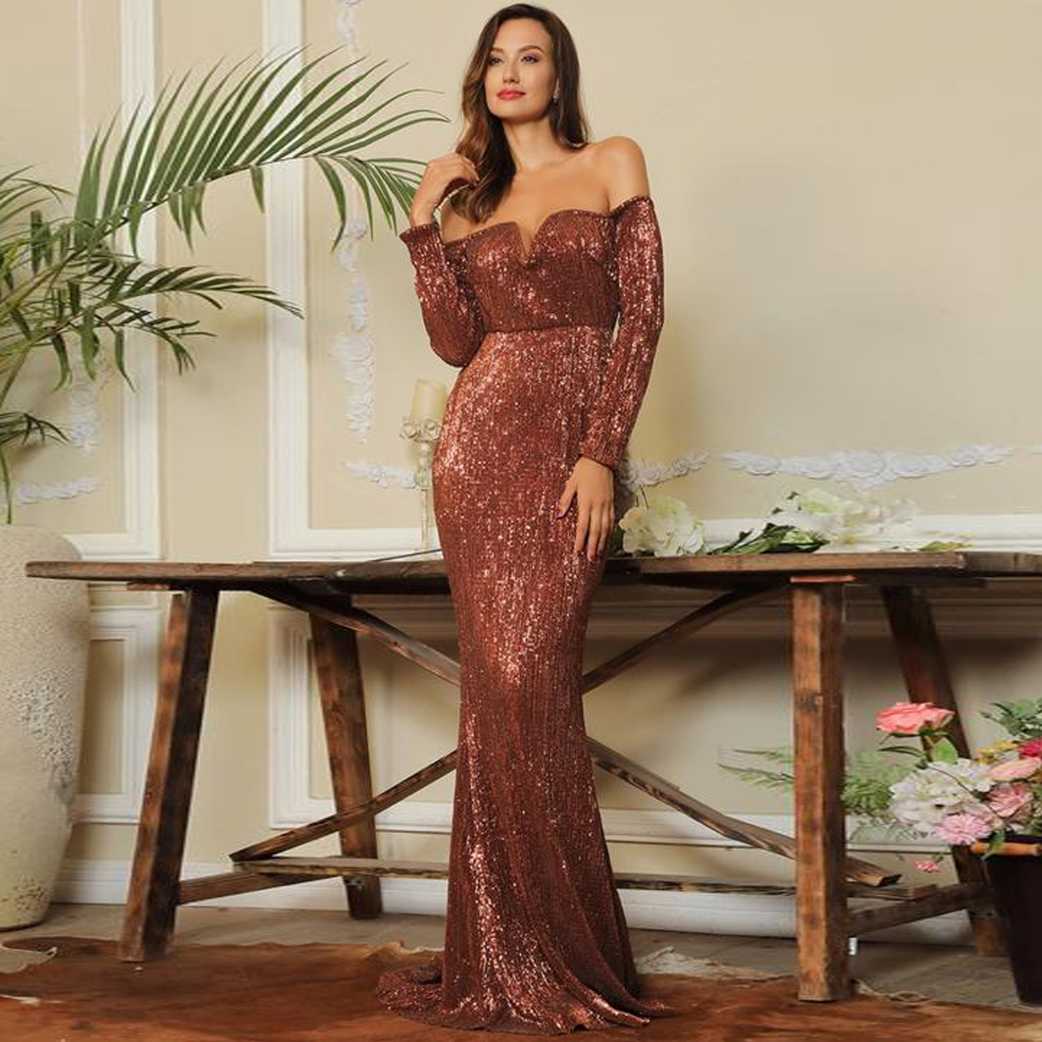 Giselle Gown- Rust - Top Glam Shop