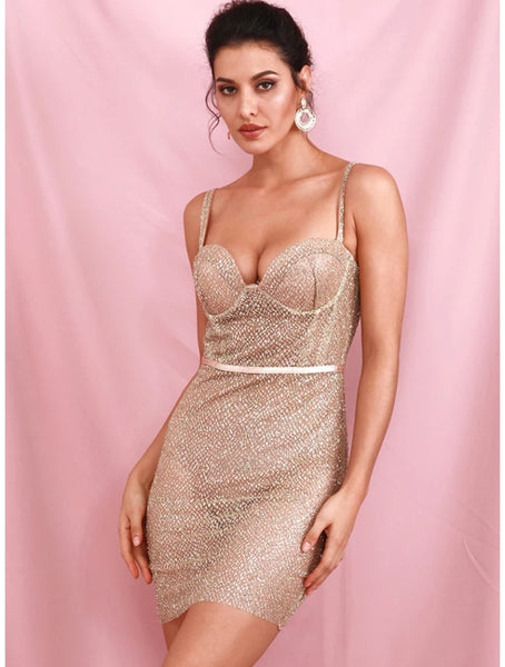 Gold Mini Glitter Backless Dress - Top Glam Shop