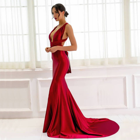 Iris Multiway Gown- Deep Red - Top Glam Shop