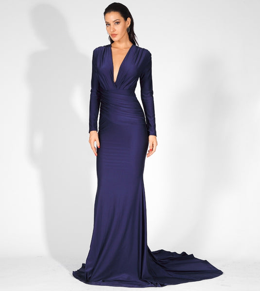 Jamila Gown- Navy - Top Glam Shop