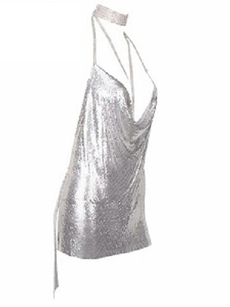 Starlight Dress- Silver - Top Glam Shop