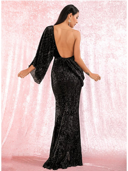 Karmen Draped Gown- Black - Top Glam Shop