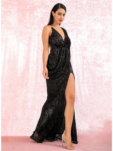 Karmen Draped Gown- Black