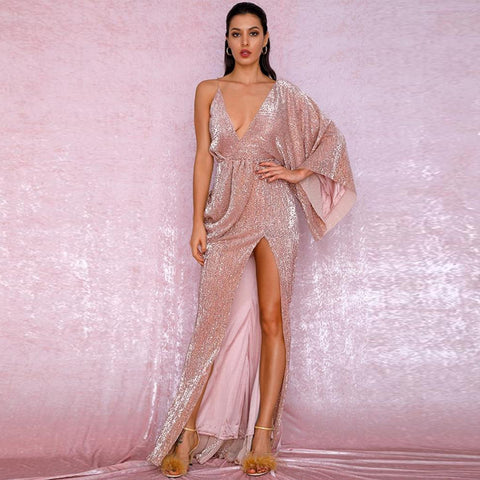 Karmen Draped Gown- Rose Gold - Top Glam Shop