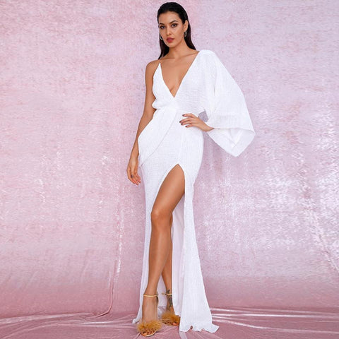 Karmen Draped Gown- White - Top Glam Shop
